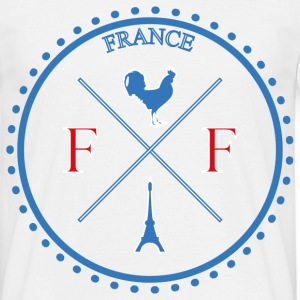 T-Shirt France Design bleu blanc rouge: Boussole c - T-shirt Homme
