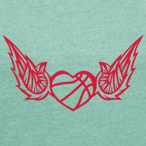 basketball wing logo 2804 T-Shirts - Women's T-shirt with rolled up sleeves