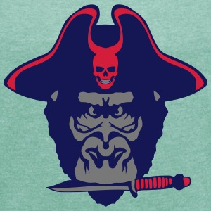 Gorilla hat pirate knife  T-Shirts - Women's T-shirt with rolled up sleeves