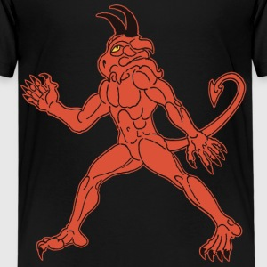 Diable Rouge avec Queue, Cornes et Sans Ailes. - T-shirt Premium Ado