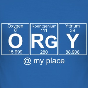ORGY @ my house - text can be changed - Men's Slim Fit T-Shirt