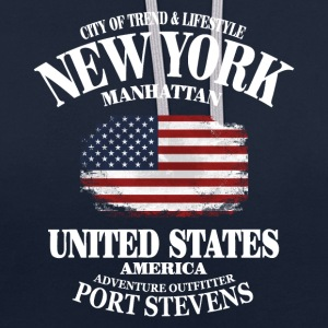 New York  - USA Vintage Flag Pullover & Hoodies - Kontrast-Hoodie