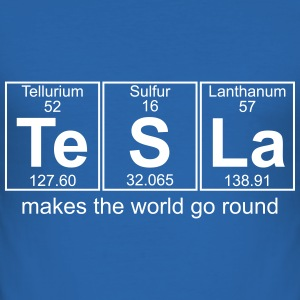 TESLA makes the world go round - Men's Slim Fit T-Shirt