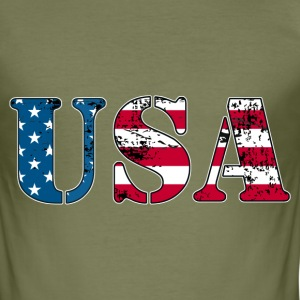 USA flag grunge style  Tee shirts - Tee shirt près du corps Homme