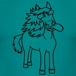 crazy funny grimace beautiful pony stallion riding T-Shirts - Men's T-Shirt