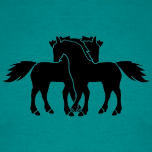 black 2 horses couple couple love love mare stalli T-Shirts - Men's T-Shirt