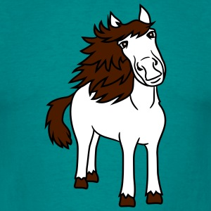beautiful horse pony stallion riding white comic c T-Shirts - Men's T-Shirt