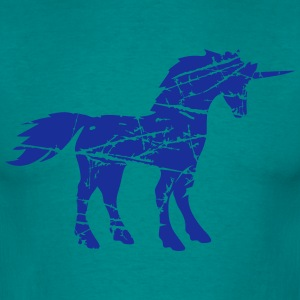 cracks pattern imprint scratch unicorn pink horse  T-Shirts - Men's T-Shirt
