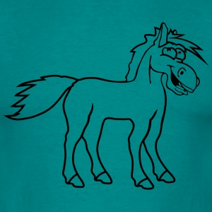 funny silly crazy comic cartoon horse laugh silly  T-Shirts - Men's T-Shirt