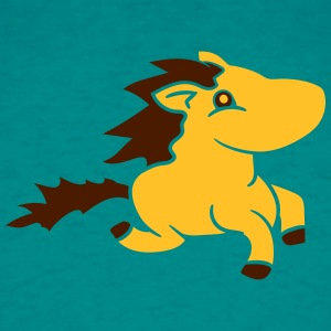 yellow sweet cute little pony horse riding gallop  T-Shirts - Men's T-Shirt