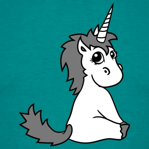 poulain licorne licorne douce mignon assis cheval  Tee shirts - T-shirt Homme