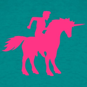 unicorn ride riding young man guy gay gay pink hor T-Shirts - Men's T-Shirt