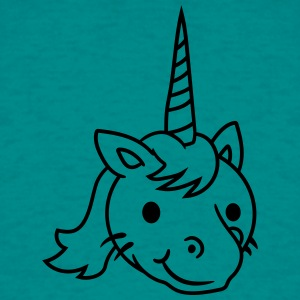 unicorn ansikt hode kawaii kitten unicorn pferdche T-skjorter - T-skjorte for menn