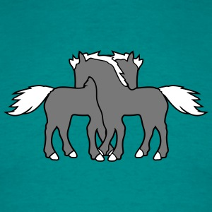 2 horses couple couple love love mare stallion cud T-Shirts - Men's T-Shirt