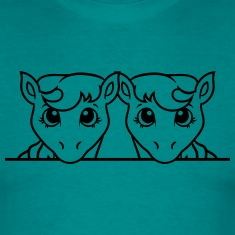 2 siblings sisters team few stall face little cute T-Shirts