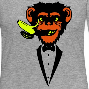 Chimpanzee monkey Banana mouth   suit Long Sleeve Shirts - Women's Premium Longsleeve Shirt