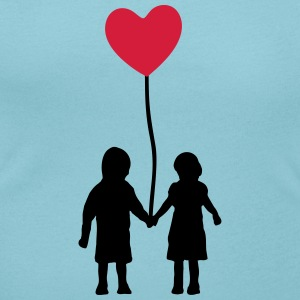 Kids and heart balloon Camisetas - Camiseta con escote redondo mujer