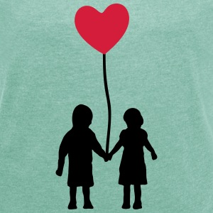 Kids and heart balloon T-Shirts - Women's T-shirt with rolled up sleeves