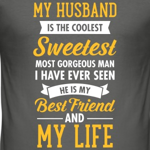 My Husband Is The Sweetest... T-shirts - Slim Fit T-shirt herr