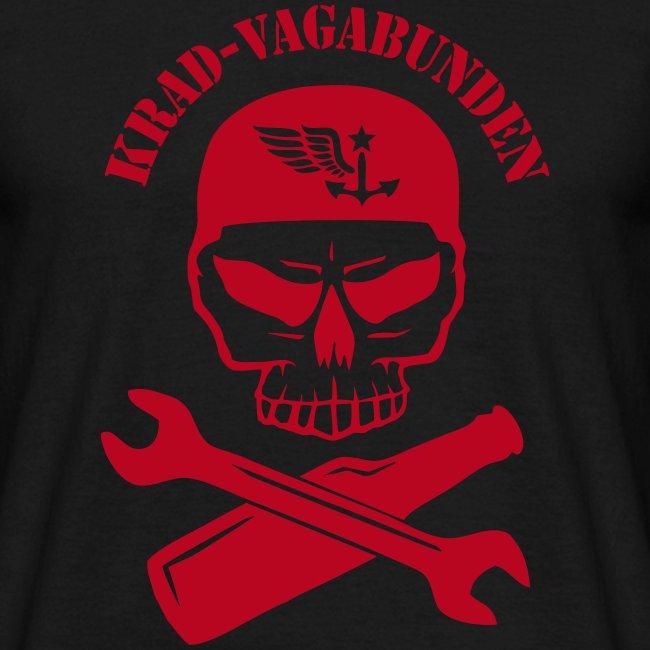 T-Shirt Männer - Totenkopf, Pulle & Schraubenschlüssel (roter Aufdruck)