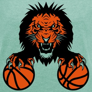 basketball Lion claw   club   Roar   mouth T-Shirts - Women's T-shirt with rolled up sleeves
