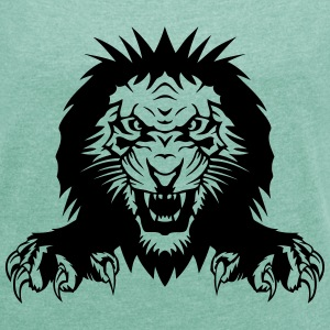 Lion claw open mouth T-Shirts - Women's T-shirt with rolled up sleeves