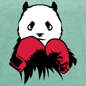 panda boxer glove boxing T-Shirts - Women's T-shirt with rolled up sleeves