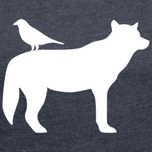 Wolf and raven T-Shirts - Women's T-shirt with rolled up sleeves