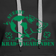 Motiv ~ Kapuzenpulli Damen - Glücksschwein - grüner Druck