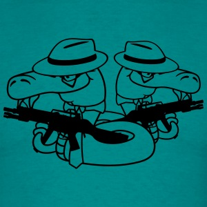 2 gangster team buddies crew mafia wapen machinege T-shirts - Mannen T-shirt