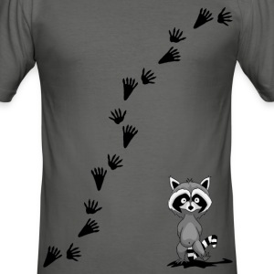 Racoon with tracks T-Shirts - Men's Slim Fit T-Shirt