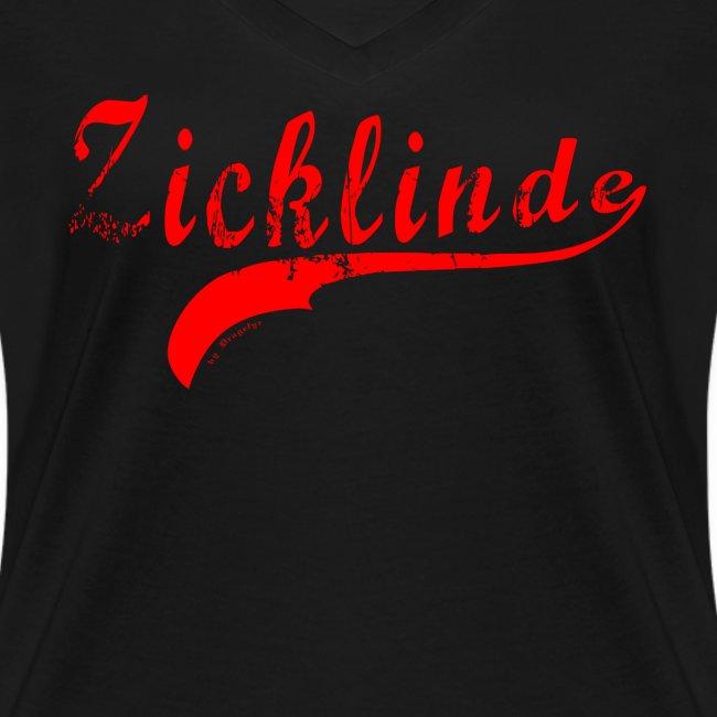 Zicklinde (rot) | T-Shirt V-Ausschnitt