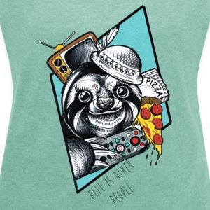 Heather mint Pizza-Sloth T-Shirts - Women's T-shirt with rolled up sleeves