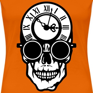 Skull death head clock halloween 2203 T-Shirts - Women's Premium T-Shirt