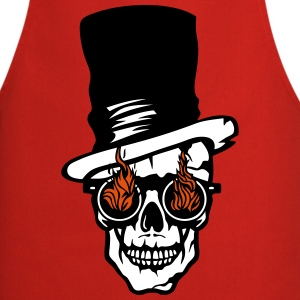 skull hat sunglasse fire flame halloween  Aprons - Cooking Apron