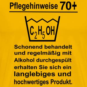 """Geburtstag T-Shirts mit """"70 Geburtstag Pflegehinweise"""""""