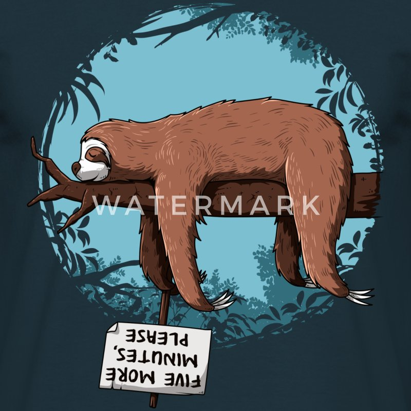 Marineblå Sloth T-shirts - Herre-T-shirt