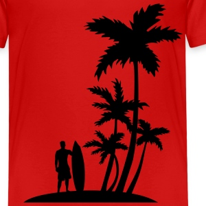 Palm trees and surfer Camisetas - Camiseta premium niño