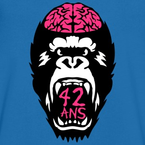 gorille 42 ans anniversaire gueule ouver Tee shirts - T-shirt Homme col V