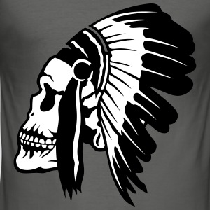 Indian skull headdress 1603 T-Shirts - Men's Slim Fit T-Shirt