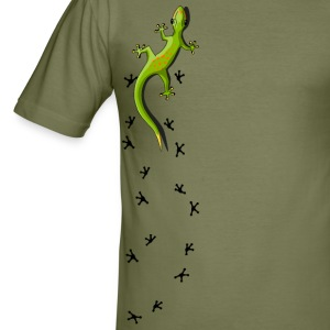 Gecko with tracks T-Shirts - Men's Slim Fit T-Shirt
