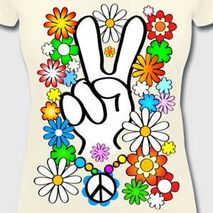 Flower Power & Peace - Women's V-Neck T-Shirt
