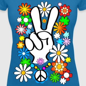 Flower Power & Peace (.no) - T-skjorte med V-utsnitt for kvinner
