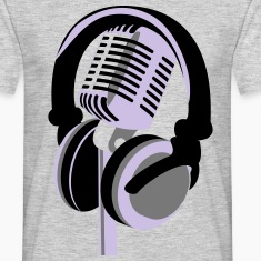 RETRO MICROPHONE AND HEADPHONES T-SHIRT