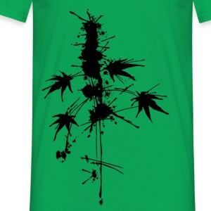 Cannabis - Pflanze Splatter/Watercolor T-Shirts - Männer T-Shirt