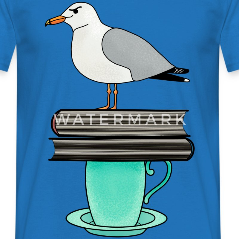 Pile of books seagull t-shirt for men - Men's T-Shirt