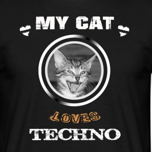 My cat loves Techno - Männer T-Shirt