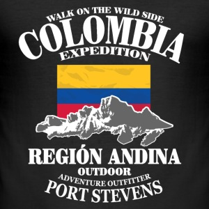 Columbia - Flag & Mountains T-Shirts - Men's Slim Fit T-Shirt
