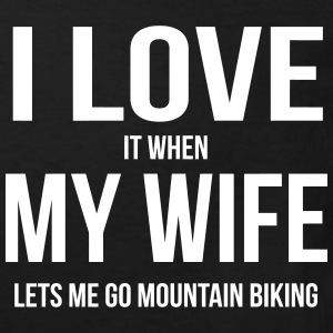 I LOVE MY WIFE (IF SHE LETS ME MOUNTAIN BIKE RIDING) Shirts - Kids' Organic T-shirt