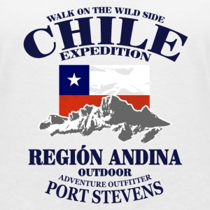 Chile - Flag & Mountains T-shirts - T-shirt med v-ringning dam